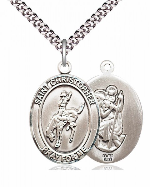 St. Christopher Rodeo Medal - Pewter