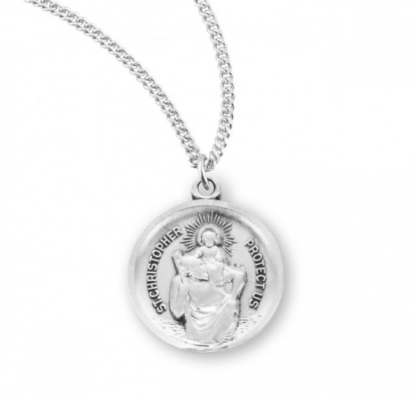 St. Christopher Round Medal Sterling Silver - Silver