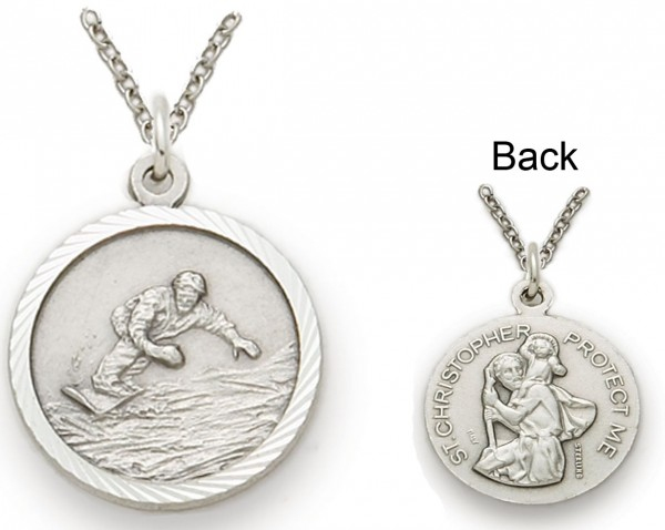 St. Christopher Snowboarding Sports Medal with Chain - Silver