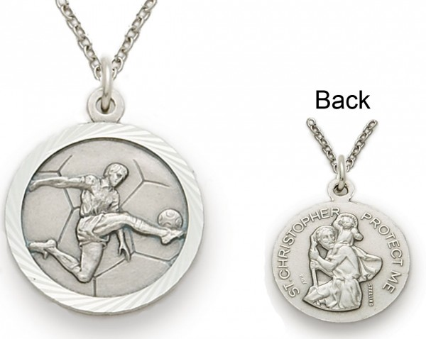 St. Christopher Soccer Sports Medal with Chain - Silver