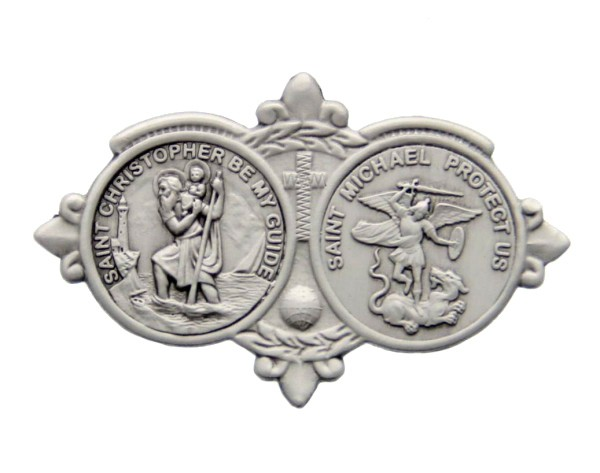 St Christopher & St Michael Visor Clip - Antique Silver