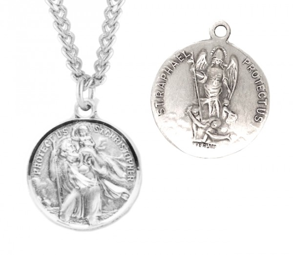 St. Christopher and St. Raphael Necklace Round Sterling Silver - Sterling Silver