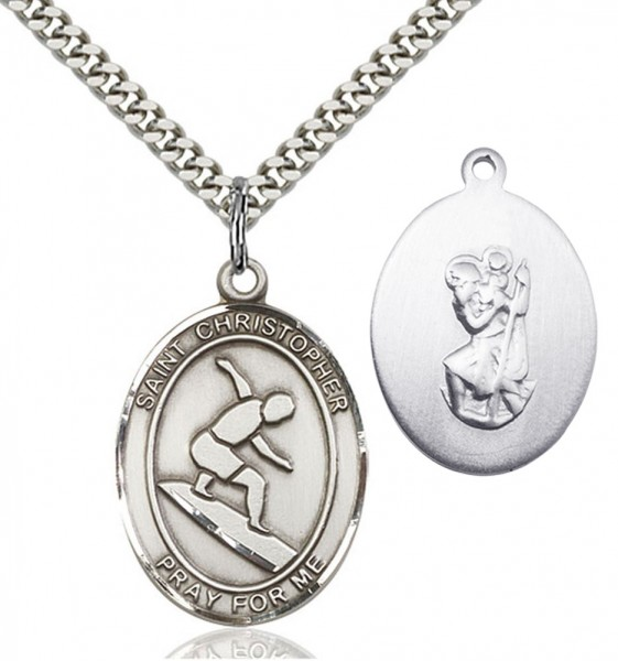 St. Christopher Surfing Medal - Sterling Silver
