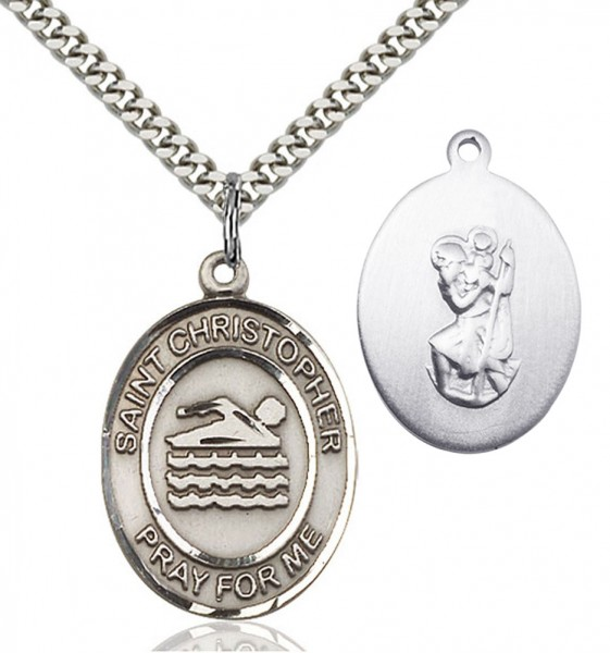 St. Christopher Swimming Medal - Sterling Silver