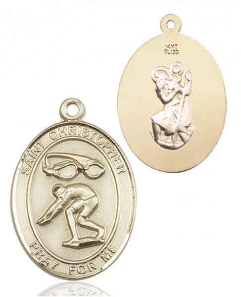 St. Christopher Swimming Medal - 14K Yellow Gold