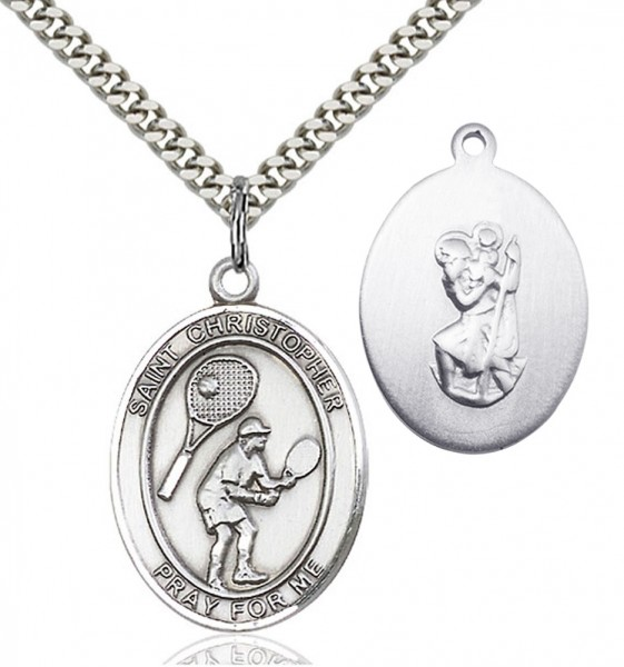 St. Christopher Tennis Medal - Sterling Silver