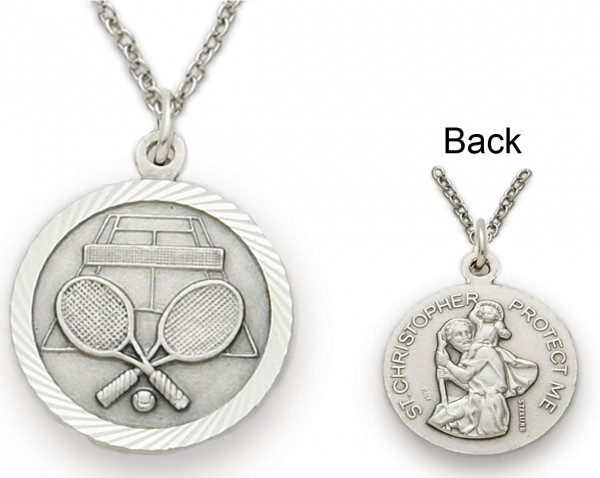 St. Christopher Tennis Sports Medal with Chain - Silver