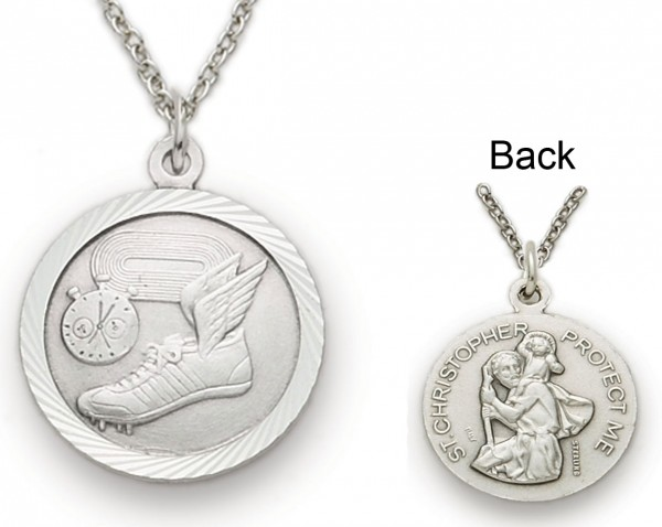 St. Christopher Track Sports Medal with Chain - Silver