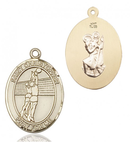 Girl's St. Christopher Volleyball Medal - 14K Yellow Gold