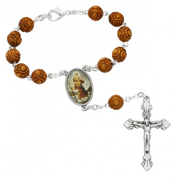 St. Christopher Wood-Carved Auto Rosary - Brown