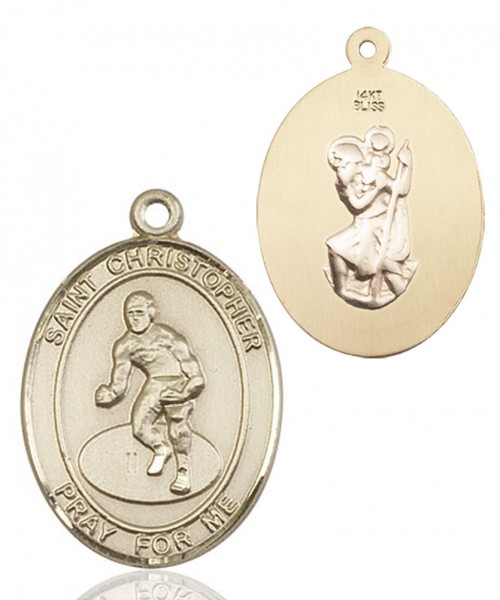 St. Christopher Wrestling Medal - 14K Solid Gold