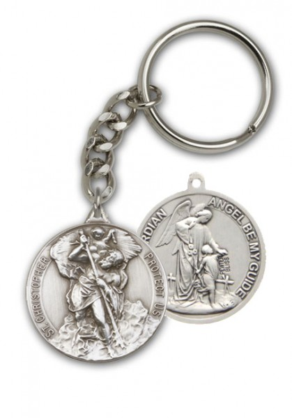 St. Christopher and Guardian Angel Keychain - Antique Silver