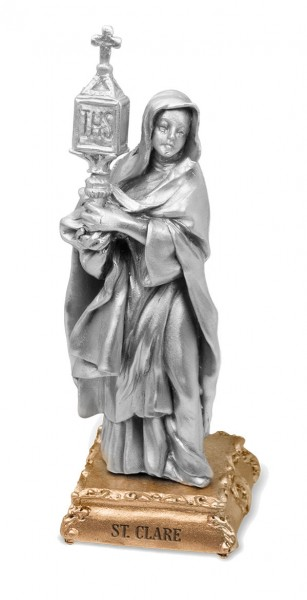 St. Clare Pewter Statue 4 Inch - Pewter