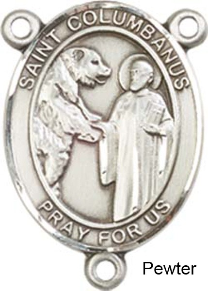 St. Columbanus Rosary Centerpiece Sterling Silver or Pewter - Pewter