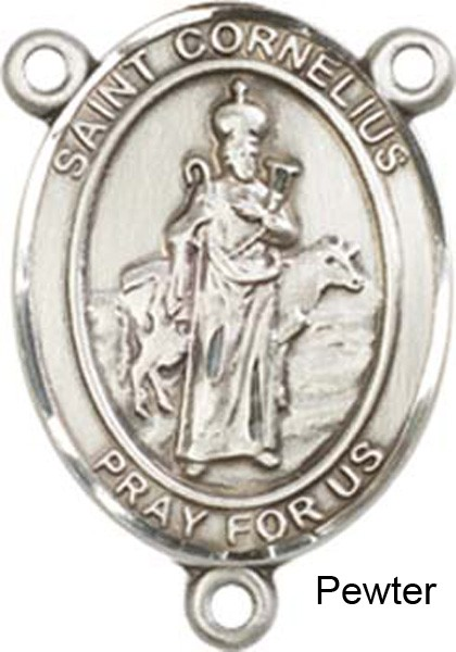 St. Cornelius Rosary Centerpiece Sterling Silver or Pewter - Pewter