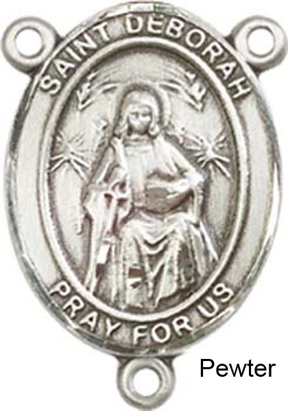 St. Deborah Rosary Centerpiece Sterling Silver or Pewter - Pewter