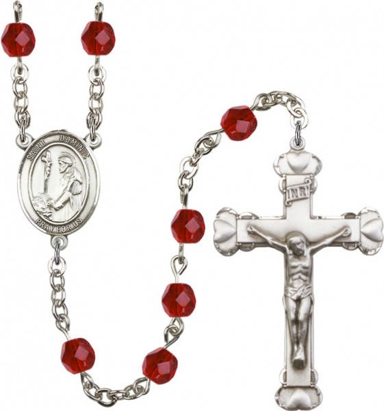 St. Dominic Rosary for Women 12 Birthstone Colors - Ruby Red