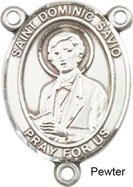 St. Dominic Savio Rosary Centerpiece Sterling Silver or Pewter - Pewter