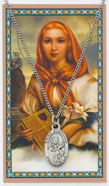St. Dymphna Medal with Prayer Card - Silver tone