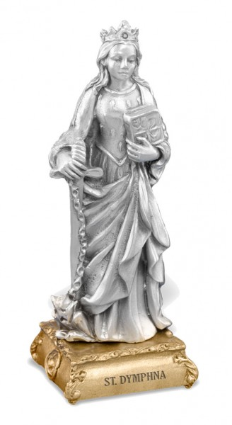 Saint Dymphna Pewter Statue 4 Inch - Pewter