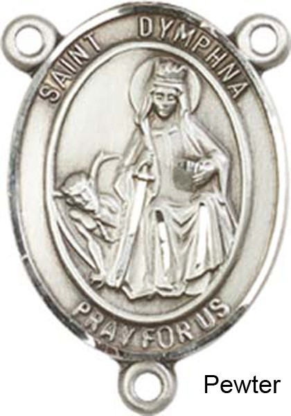 St. Dymphna Rosary Centerpiece Sterling Silver or Pewter - Pewter