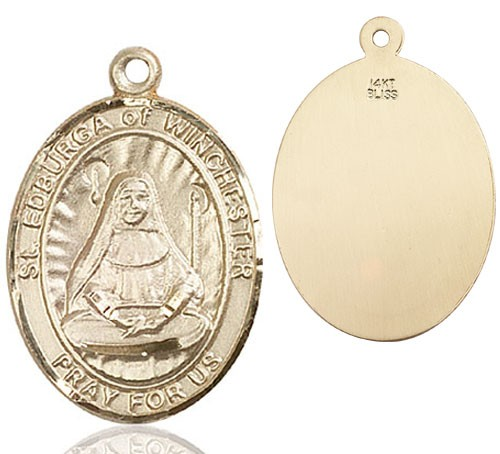 St. Edburga of Winchester Medal - 14K Yellow Gold