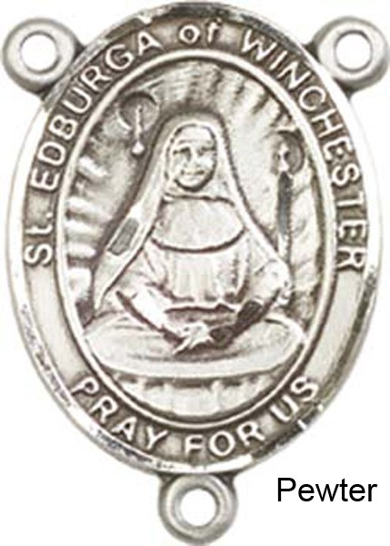 St. Edburga of Winchester Rosary Centerpiece Sterling Silver or Pewter - Pewter