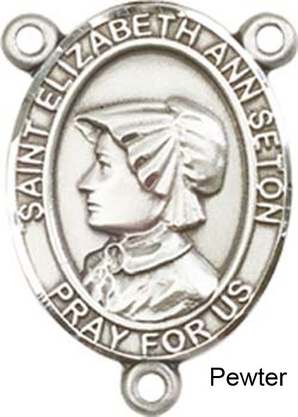 St. Elizabeth Ann Seton Rosary Centerpiece Sterling Silver or Pewter - Pewter