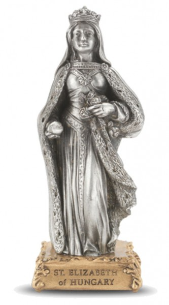 Saint Elizabeth of Hungary Pewter Statue 4 Inch - Pewter