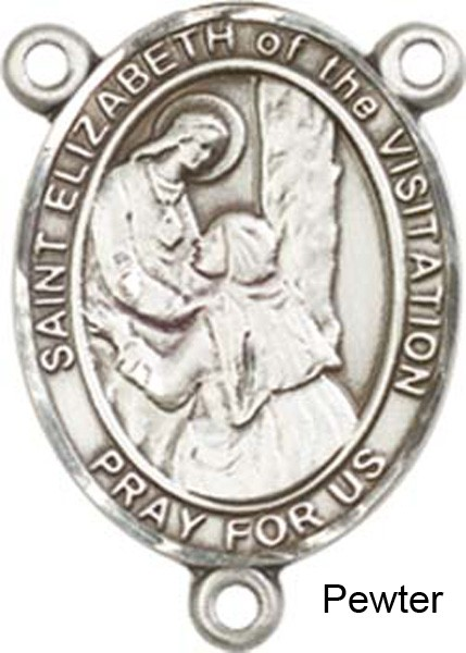 St. Elizabeth of the Visitation Rosary Centerpiece Sterling Silver or Pewter - Pewter