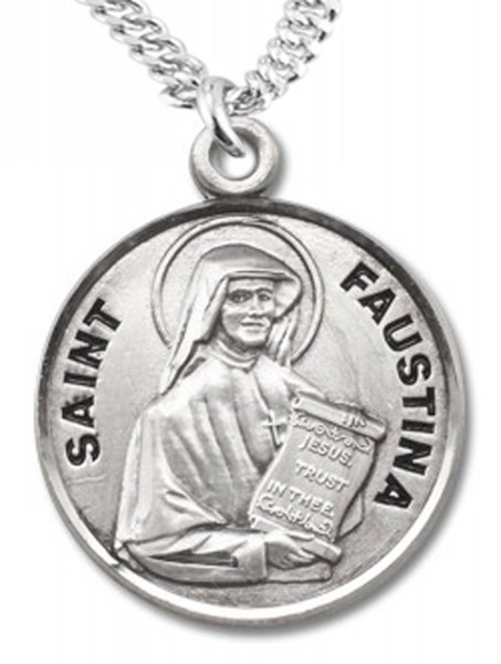 St. Faustina Medal - Sterling Silver
