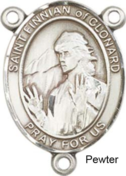 St. Finnian of Clonard Rosary Centerpiece Sterling Silver or Pewter - Pewter