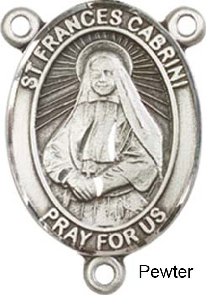 St. Frances Cabrini Rosary Centerpiece Sterling Silver or Pewter - Pewter