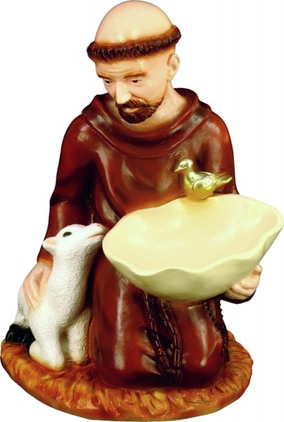 Plastic Saint Francis Bird Feeder Statue - 16 Inch - Full Color