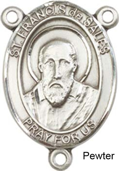 St. Francis De Sales Rosary Centerpiece Sterling Silver or Pewter - Pewter