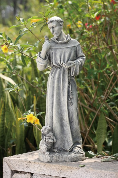 "St. Francis Garden Statue with Rabbit - 24"" - Stone Finish"