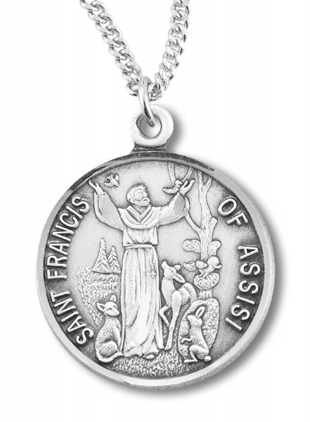St. Francis Round Medal Sterling Silver - Silver