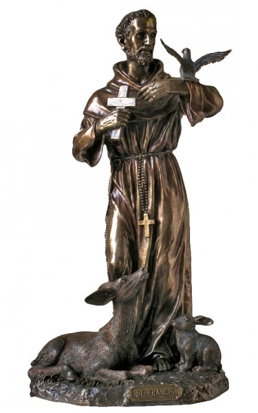 St. Francis Statue, Bronzed Resin - 36 inch - Bronze