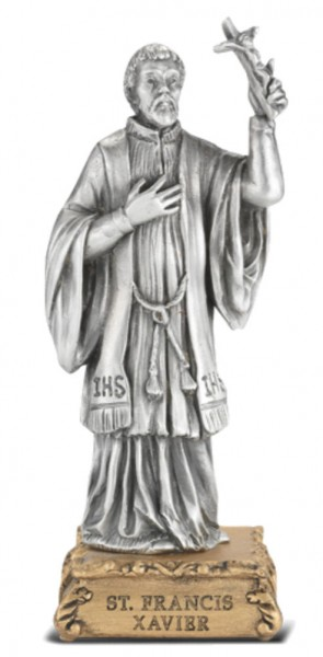 Saint Francis Xavier Pewter Statue 4 Inch - Pewter