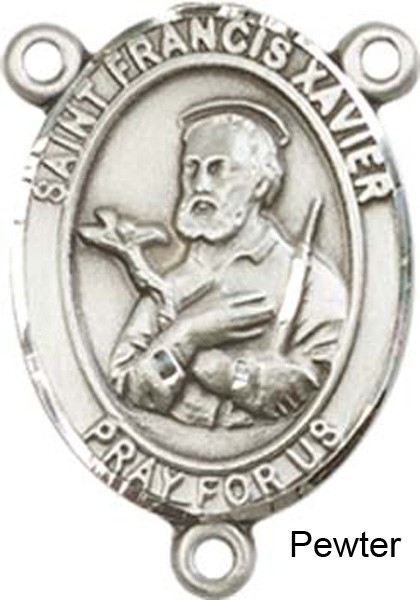 St. Francis Xavier Rosary Centerpiece Sterling Silver or Pewter - Pewter