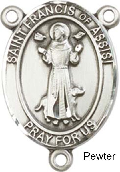 St. Francis of Assisi Rosary Centerpiece Sterling Silver or Pewter - Pewter