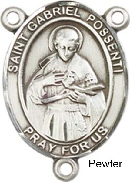 St. Gabriel Possenti Rosary Centerpiece Sterling Silver or Pewter - Pewter