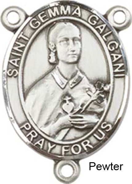 St. Gemma Galgani Rosary Centerpiece Sterling Silver or Pewter - Pewter