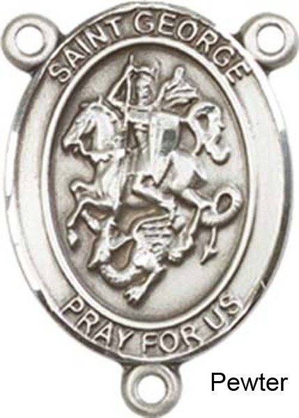 St. George Rosary Centerpiece Sterling Silver or Pewter - Pewter