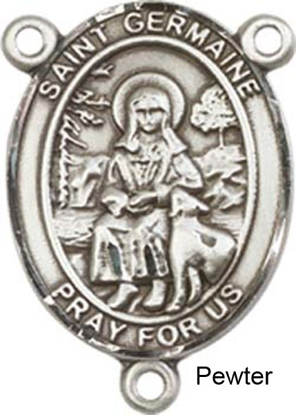 St. Germaine Cousin Rosary Centerpiece Sterling Silver or Pewter - Pewter
