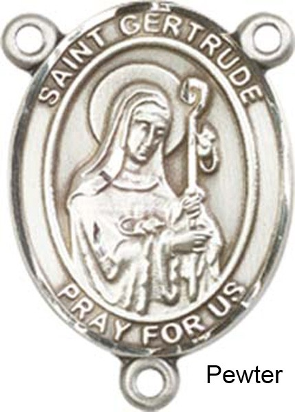 St. Gertrude of Nivelles Rosary Centerpiece Sterling Silver or Pewter - Pewter