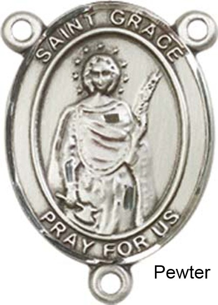 St. Grace Rosary Centerpiece Sterling Silver or Pewter - Pewter