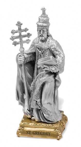 St. Gregory Pewter Statue 4 Inch - Pewter