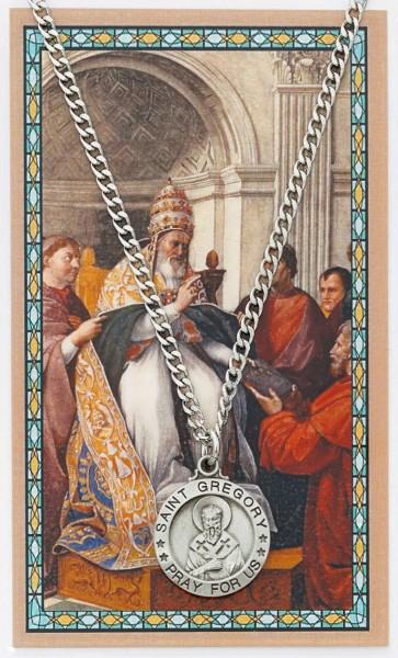 St. Gregory The Great Medal with Prayer Card - Silver tone