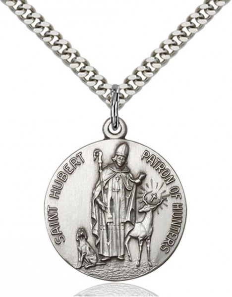 Round St. Hubert of Liege Patron of Hunting Medal - Sterling Silver